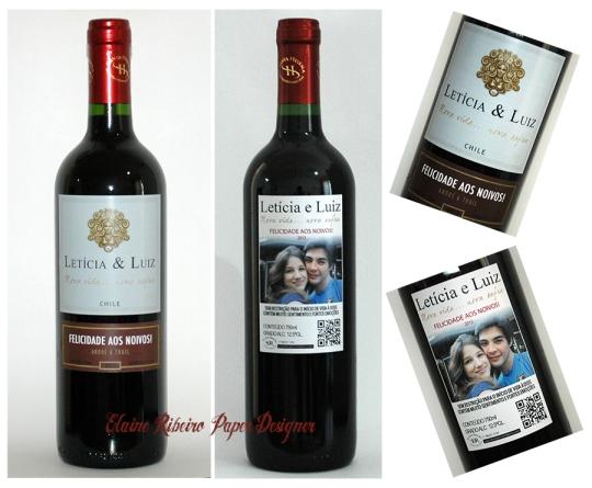 Garrafa de vinho com rótulo personalizado